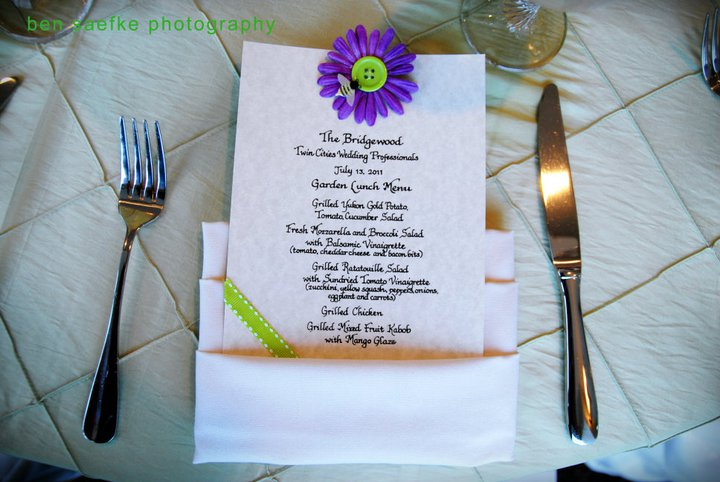 menu for wedding place settings