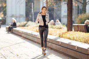 Hospitality woman walking