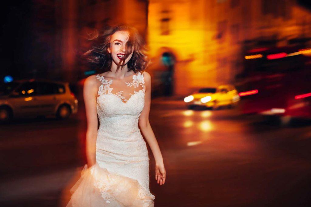 bride walking at night