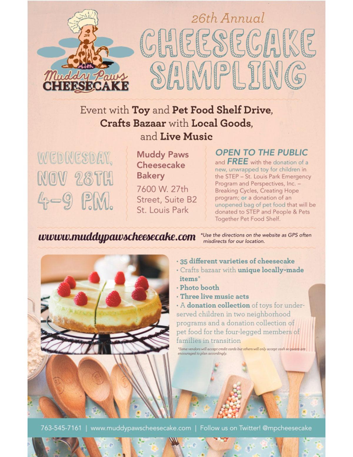 muddypaws cheesecake sampling flyer