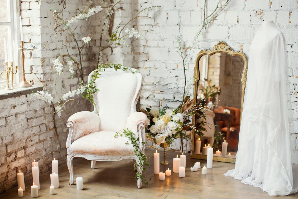 vintage armchair near candles