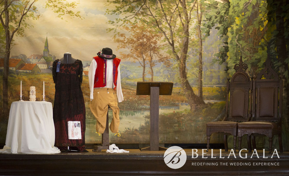CSPS Hall St Paul - hand painted scenic backdrop stage with vintage dress and bohemian folk suit