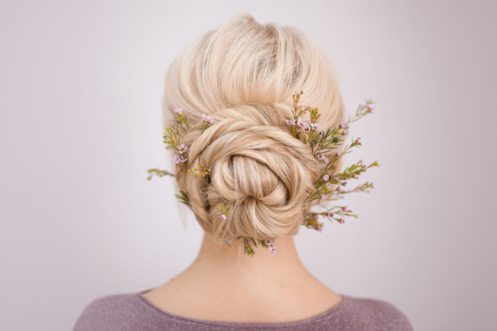 Elegant bridal hair updo styling