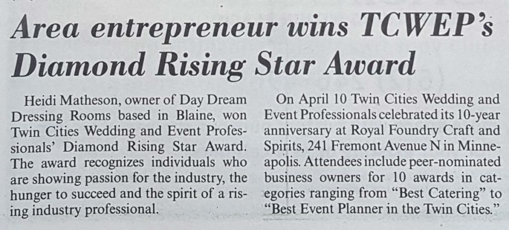 Rising Star Award Twin Cities Wedding and Event Professionals 2019