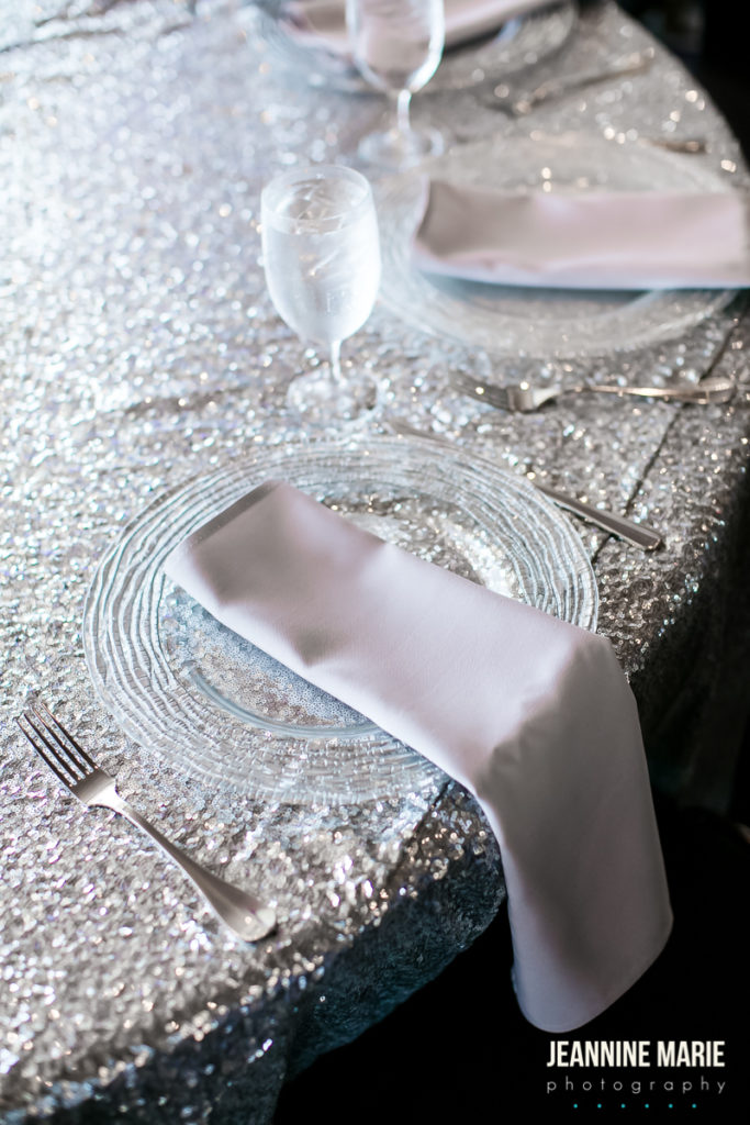 shiny sequined table linens