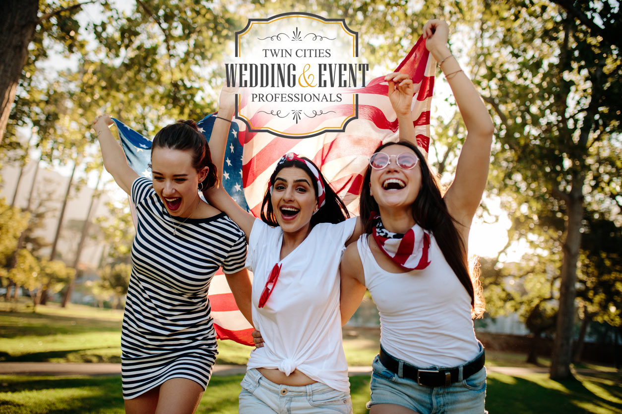 Enthusiastic women 4th of July